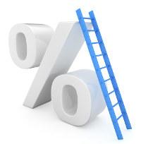 Symbol für steigende Bauzinsen in %