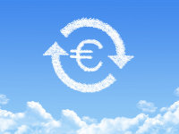 Eurozeichen aus Wolken
