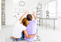 Paar plant glücklich neues Zuhause